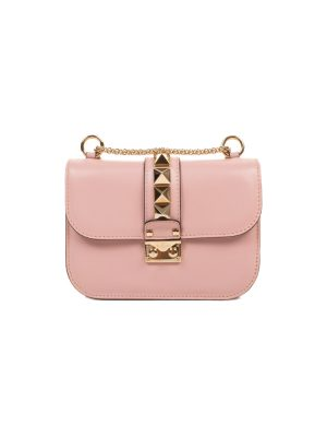 Pink Leather Gold Rock Stud Bag by Valentino - Le Dressing Monaco
