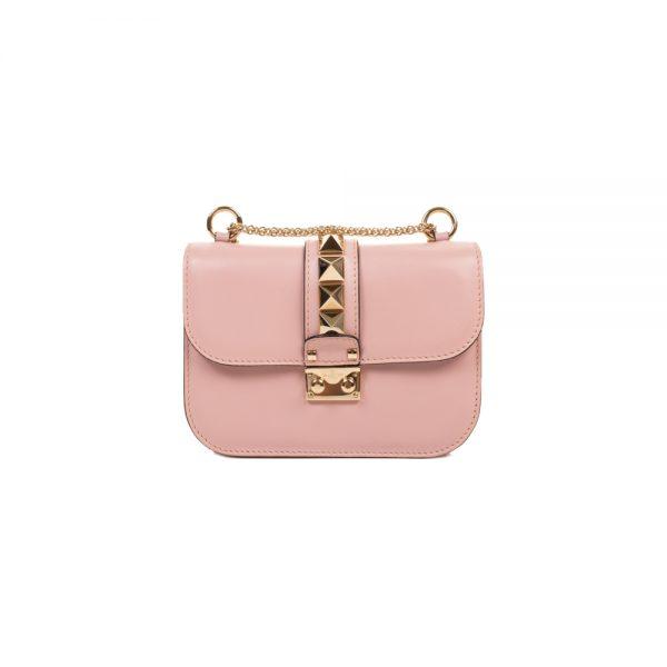 Small Blush Pink Rockstud Lock Bag by Valentino - Le Dressing Monaco