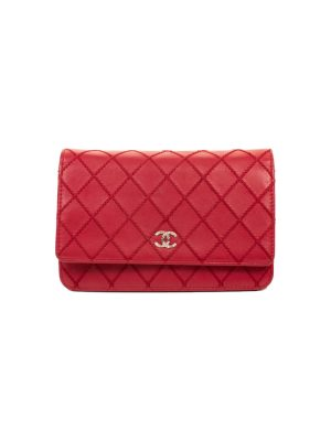 Red Leather Wallet On Chain by Chanel - Le Dressing Monaco