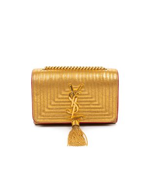 Gold Red Leather Pompom Bag by Saint Laurent - Le Dressing Monaco