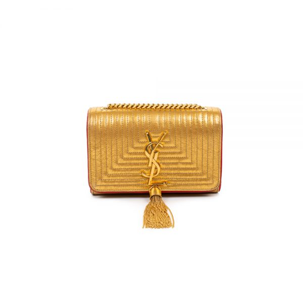 Small Gold Kate Gold Tassel Shoulder Bag by Saint Laurent - Le Dressing Monaco
