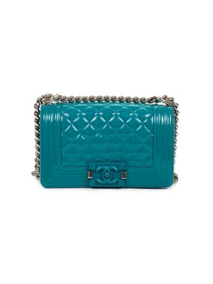 Turquoise Leather Quilted Small Boy Bag by Chanel - Le Dressing Monaco