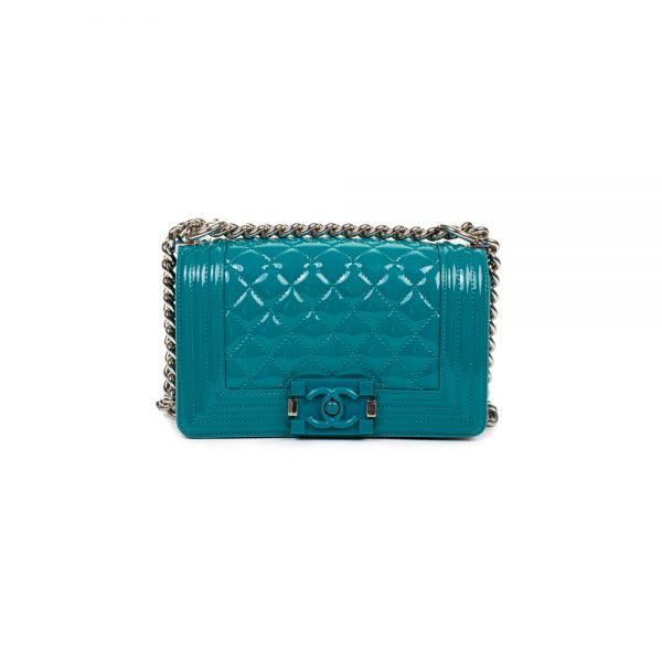 Turquoise Patent Leather Quilted Small Boy Bag by Chanel - Le Dressing Monaco