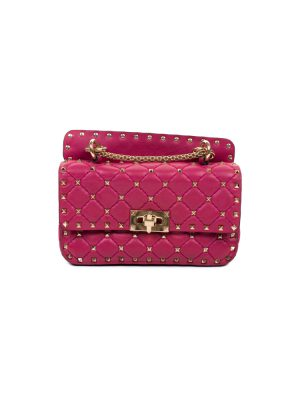 Fuchsia Leather Gold Studded Bag by Valentino - Le Dressing Monaco