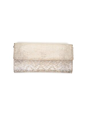 White Iridescent Leather Wallet On Chain by Chanel - Le Dressing Monaco