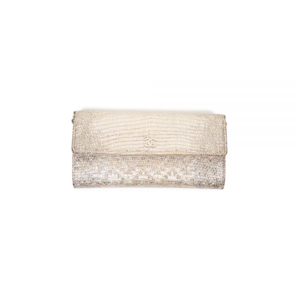 Silver Iridescent Lizard Embossed Leather Wallet by Chanel - Le Dressing Monaco