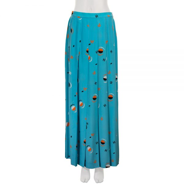 Blue Printed Vintage Silk Maxi Skirt by Chanel - Le Dressing Monaco