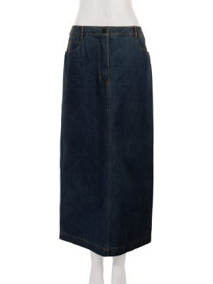 Blue Splitted Denim Maxi Skirt by Chanel - Le Dressing Monaco