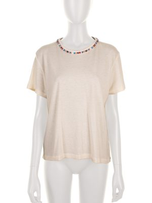 Off-White Pearl Embellished Tee-shirt by Alanui - Le Dressing Monaco