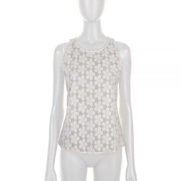White Flower Embroidered Sequins Top by Chanel - Le Dressing Monaco