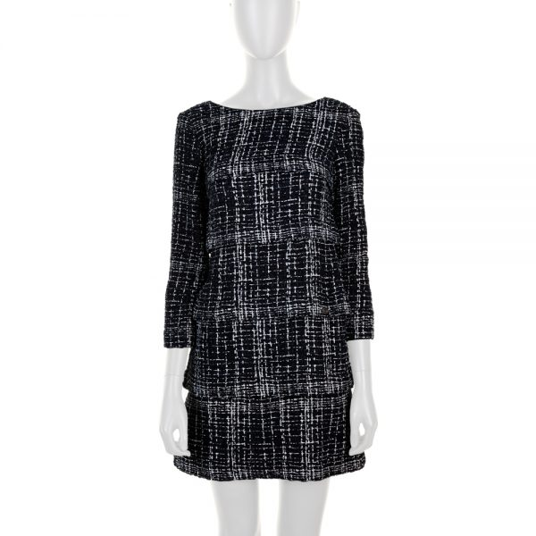 Blue White Long Sleeved Boucle Dress by Chanel - Le Dressing Monaco