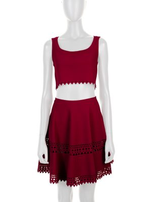Red Laser Cut Short Top Skirt by Alaia - Le Dressing Monaco