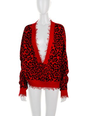 Red Cotton Silk Leopard Sweater by Alanui - Le Dressing Monaco