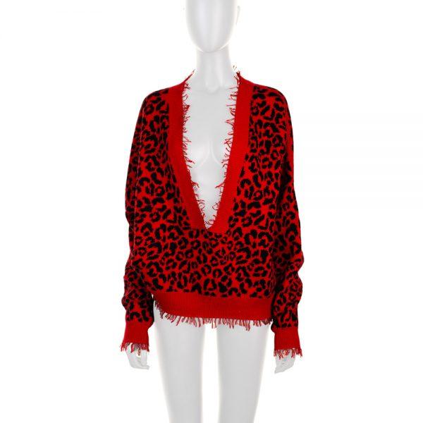 Red Cotton Silk Leopard Sweater by Alanui - Le Dressing Monaco