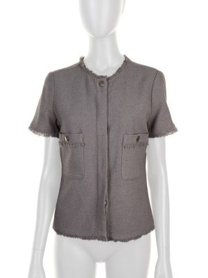 Grey Fringed Wool Blended Jacket by Chanel - Le Dressing Monaco