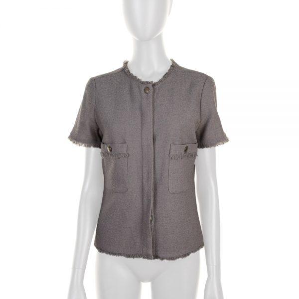 Grey Fringed Wool Blended Jacket by Chanel - Le Dressing Monaco