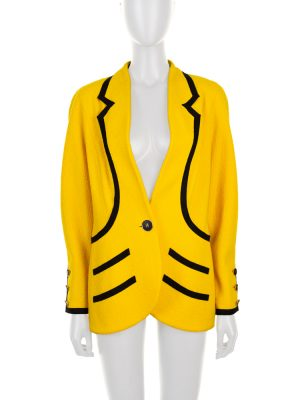 Yellow Black Vintage Boucle Jacket by Chanel - Le Dressing Monaco