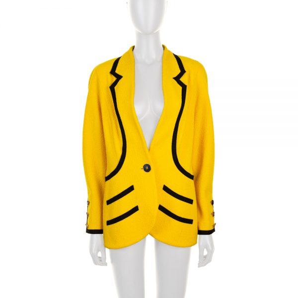 Yellow Black Vintage Boucle Jacket by Chanel - Le Dressing Monaco