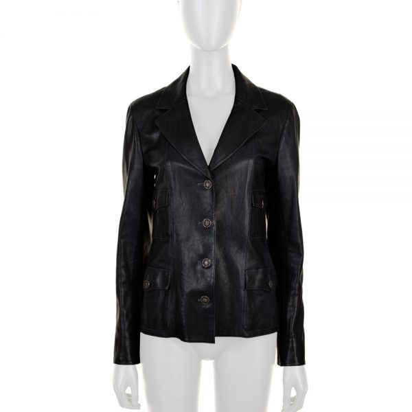 Blue Buttoned Leather Jacket by Chanel - Le Dressing Monaco