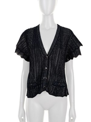 Navy Blue Silver Knitted Cardigan by Chanel - Le Dressing Monaco