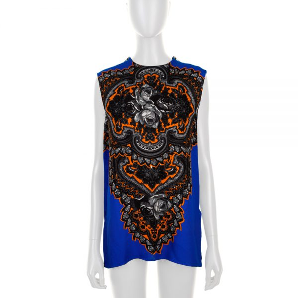 Blue Orange Zipp Sleevless Printed Top by Stella Mc Cartney - Le Dressing Monaco