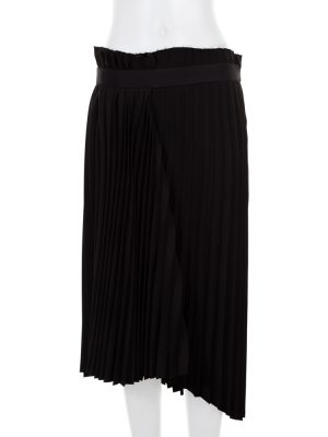 Black Asymmetric Midi Pleated Skirt by Balenciaga- Le Dressing Monaco