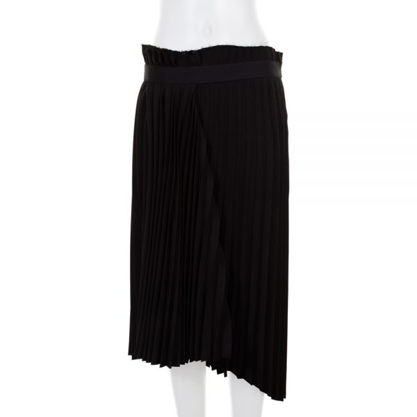 Black Asymmetric Midi Pleated Skirt by Balenciaga- Le Dressing Monaco