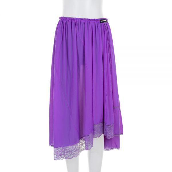 Purple Asymmetric Elastic Waist Lace Skirt by Balenciaga- Le Dressing Monaco