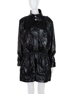 Black Shiny Gathered Rain Coat by Chanel - Le Dressing Monaco