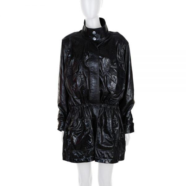 Black Shiny Gathered Rain Coat by Chanel - Le Dressing Monaco