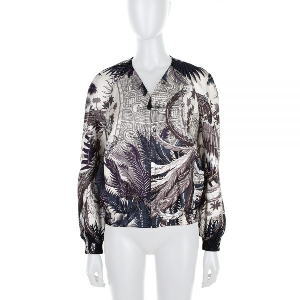 Off-White Mythiques Phoenix Silk Bomber Jacket by Hermès- Le Dressing Monaco