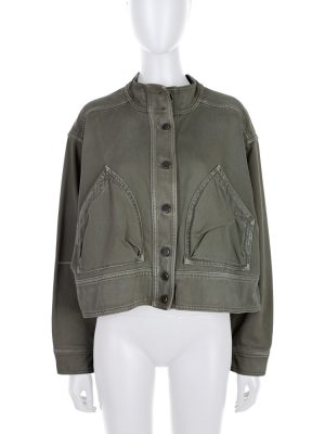 Green Denim Oversize Strapped jacket by Valentino - Le Dressing Monaco