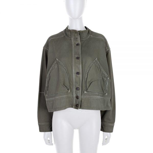 Green Denim Oversize Strapped jacket by Valentino - Le Dressing Monaco