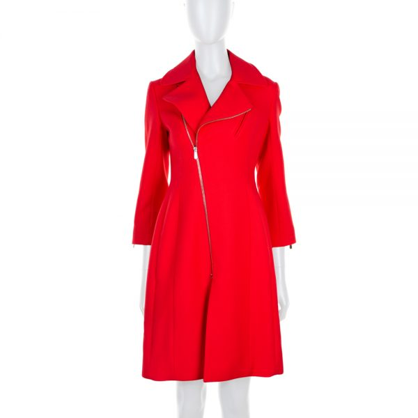 Red Wool Zipped Coat by Christian Dior - Le Dressing Monaco