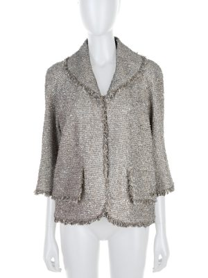 Silver Metal Embellished Boucle Jacket P58 by Chanel - Le Dressing Monaco