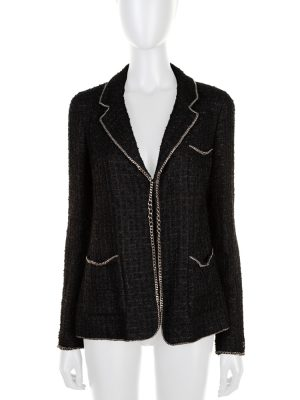 Black Chain Border Boucle Jacket by Chanel - Le Dressing Monaco
