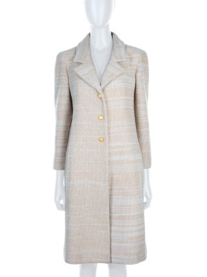 Beige Long Gold Buttonned Wool Coat by Chanel - Le Dressing Monaco