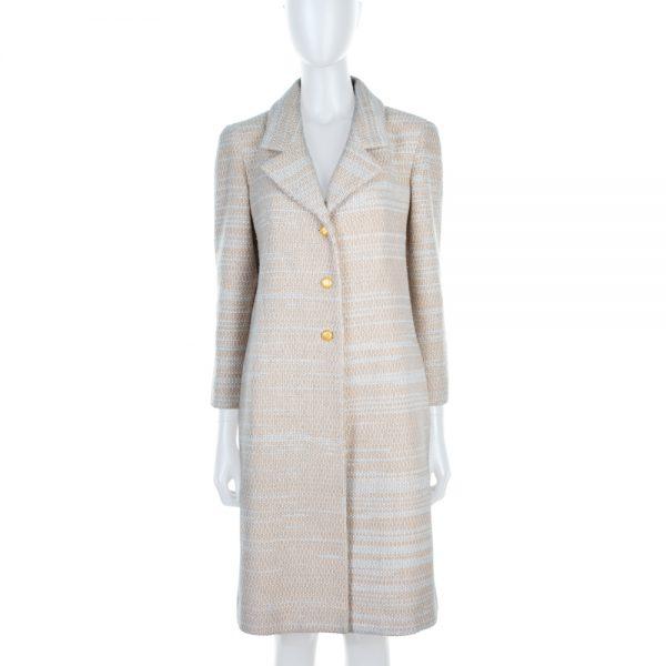 Beige Long Gold Buttonned Wool Coat by Chanel - Le Dressing Monaco