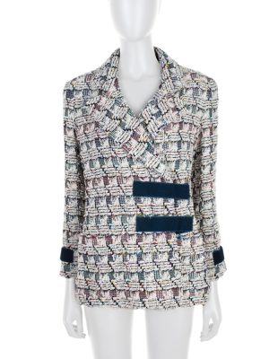 Multicolored blue White Scratch Boucle Jacket by Chanel - Le Dressing Monaco
