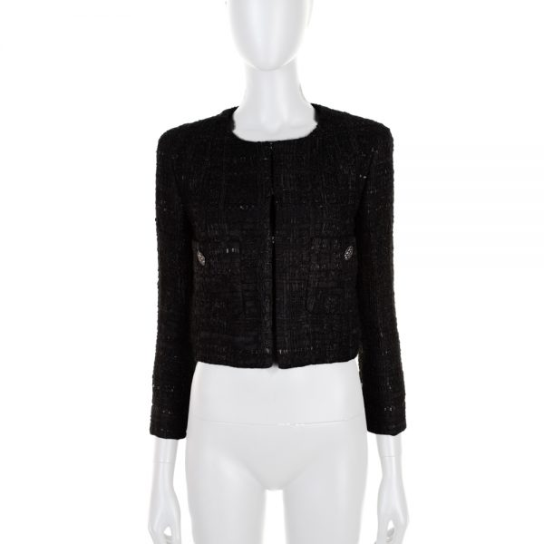 Black Two Pockets Short Jacket by Chanel - Le Dressing Monaco