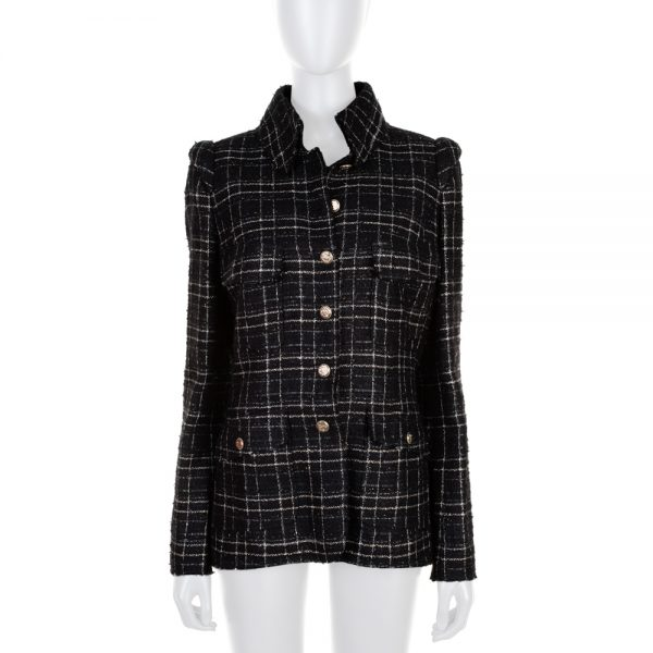 Black Off White Silver Stripped Boucle Jacket by Chanel - Le Dressing Monaco