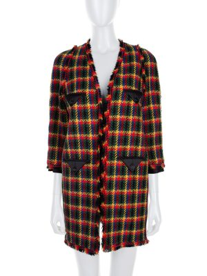 Multicolored Long Tweed Silk Pocket Coat by Chanel - Le Dressing Monaco