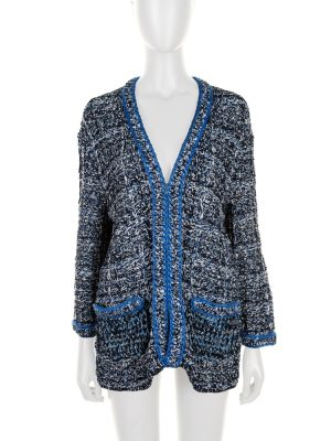 Blue Black Metallic Open Cardigan Jacket by Chanel - Le Dressing Monaco