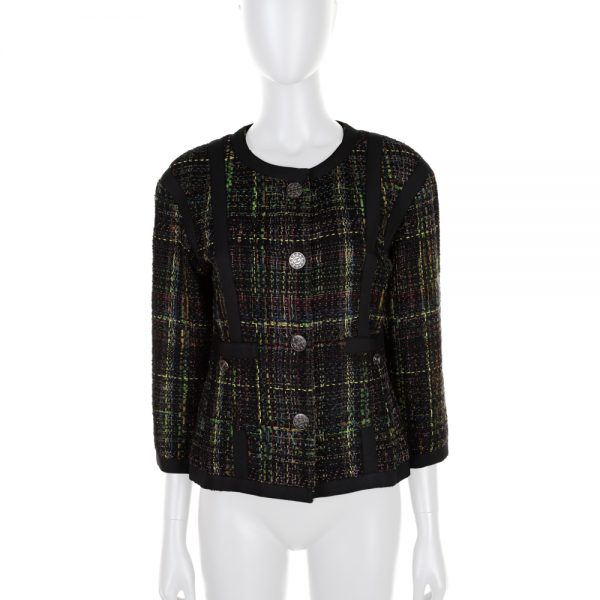 Black Green 3/4 Sleeved Boucle Jacket by Chanel - Le Dressing Monaco