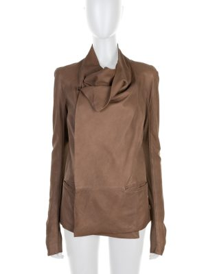 Camel Shawl Collar Leather Jacket by Rick Owens - Le Dressing Monaco