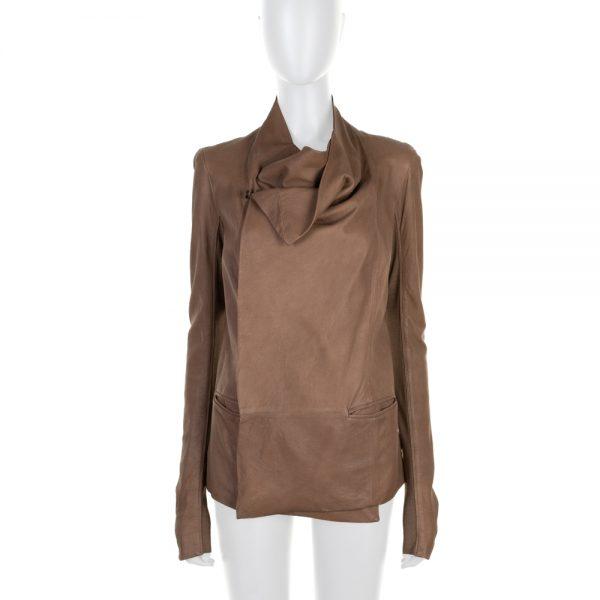 Camel Shawl Collar Leather Jacket by Rick Owens - Le Dressing Monaco