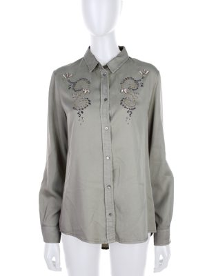 Green Crystal Embellished Shirt by Ermanno Scervino- Le Dressing Monaco