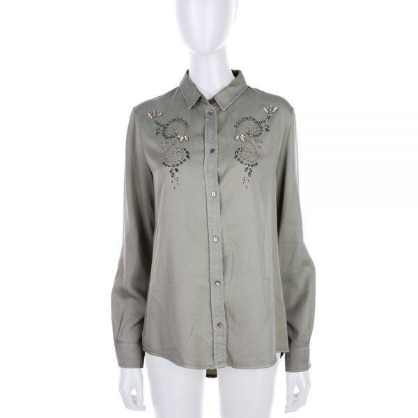 Green Crystal Embellished Shirt by Ermanno Scervino- Le Dressing Monaco