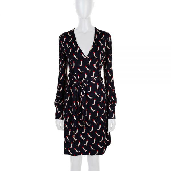 Blue Horse Bite embellished Wrap Dress by Gucci - Le Dressing Monaco