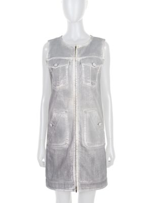 Grey Denim Zipped Cotton Dress by Chanel - Le Dressing Monaco